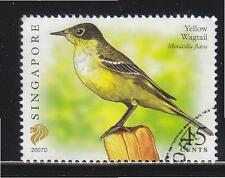 SINGAPORE 2007 YELLOW WAGTAIL $0.45 3RD RE-PRINT (2007D) 1 STAMP IN FINE USED