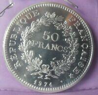 50 Francs Hercule 1974 : FDC : pièce de monnaie Française ARGENT N1