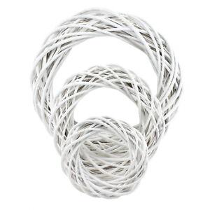 Couronne en Osier Blanc Coloré, Mat, 25/35/50cm, Shabby, Couronne de Bois