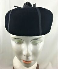 -06Vintage 1940 Black Velvet Pillbox Hat Grosgrain Ribbon John Wanamaker Pinup