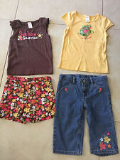 girls 4 PC GYMBOREE LOT ALOHA SUNSHINE denim shorts SHIRTS turtle SIZE 5-6 cute