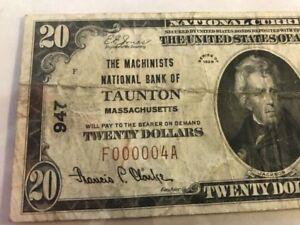 LOW SERIAL #4 1929 $20 Machinists National Bank of Taunton, MA Massachusetts