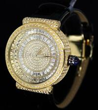 14k Gold Plated Swiss Movt Simulated Diamond Bezel Leather Mens Bling Watch