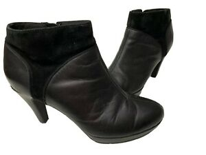 Clarks Collection Cushion Ankle Booties Boots Heels Shoes 7.5 Black Leather Zip