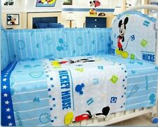 Mickey Mouse Crib Sheet Baby Bedding Cot Set 6Pcs Nursery Boy Girl Infant