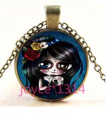 Sugar Flower Girl Cabochon bronze Glass Chain Pendant Necklace TS-5888
