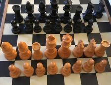 """Vintage Staunton Wood Chess Pieces,3 1/8""""King,Weighted-- Felt Bottoms,Varnished"""