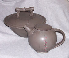 Studio Art Pottery TEAPOT & Large BOWL w/LID Asian style Gray Pussy Willow motif