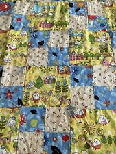 HANDMADE BABY QUILT CRIB LAP THROW BLANKET32X32 Flannel Backing