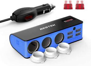 BESTEK 200W 12V/24V DC Cigarette Lighter Power Adapter 3 Socket  with 6A 4-Port