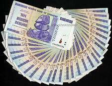 25 x 10 Billion Zimbabwe Dollars Banknotes AA AB 2008 ¼ Bundle 25PCS Paper Money