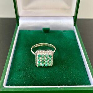 Turquoise 18ct White Gold Ring Fully Hallmarked UK Size M