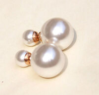 Women Quality Jewelry 18K RGF Double Sided White Pearl Beads Ear Studs Earrings