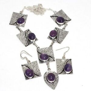 Amethyst 925 Silver Plated Handmade Necklace Earrings Set Unique Gift GW