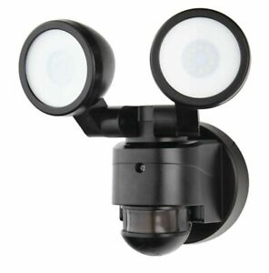 DEFIANT 180° Black Motion Activated Outdoor LED Twin Head Flood Security Lights