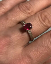 Dainty Ruby And Cubic Zirconia Ring Size O