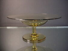 H C Fry Glass Hand Blown Elegant Glass Amber Compote Polished Pontil Mark 1925