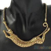Good Leopard Animal Gold Plated Pendant Collar Carved Nobby Necklace Chain B57U