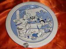 1990 Bob and Bobette Cartoon Porcelain Plate, Blue Color, Made in Belgium