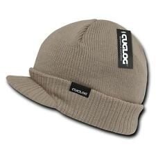 Khaki Visor Brim Jeep Knit Army Warm Winter Ski Skull Beanie Beanies Hat Hats