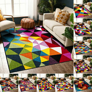 Hand Carved Multi Color Luxury Carpet Small Large Geometric Pattern Rug UK Sizes