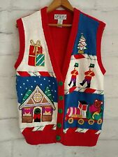 Women's Ugly Christmas Sweater Button Front Vest with Presents Toys size M