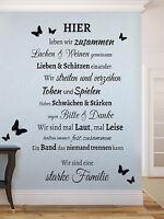 Familie Spruch Schmetterling Wohnzimmer Flur Wandspruch Wandaufkleber WandTattoo