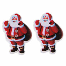 10 SANTA FATHER CHRISTMAS 2 HOLE WOOD BUTTONS CARD MAKING SEWING CRAFT WORK
