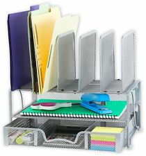 SimpleHouseware Mesh Desk Organizer with Sliding Drawer, Double Tray and 5