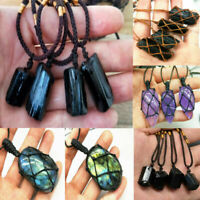 Healing Crystal Natural Stone Amethyst Tourmaline Pendant Rope Chain Necklace