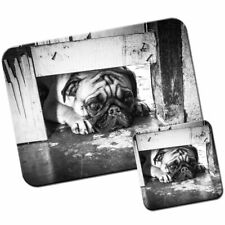 Pug Looking Under Gate Mouse Mat / Pad & Coaster