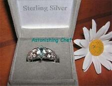 AVON STERLING SILVER BLUE TOPAZ RING & GIFT BOX SZ 8