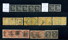 Canada #34/42 used F/VF 1870/1888 Queen Victoria Small Queen Pairs & Strips