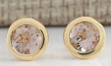 3.00 Carat Natural Morganite 14K Yellow Gold Earrings