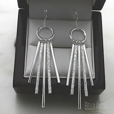 Sterling Silver 925 Plated Textured Bar Long Dangle Drop Earrings NEW UK  -166