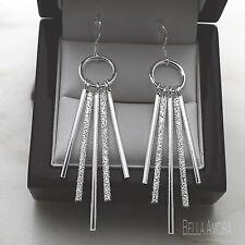 Sterling Silver 925 Pltd Textured Bar Long Dangle Drop Earrings NEW UK  -166