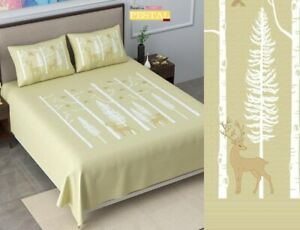 Pure Cotton King Size(108X108) Pestal Bedsheets 180 TC, with pillow covers