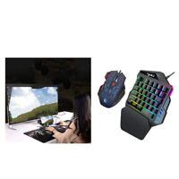 Multicolore à Une Main 35 Touches Mini-clavier De Jeu + Souris Pour PC Gaming
