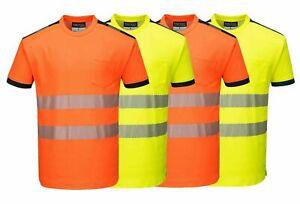 Portwest Hi-Vis Viz Breathable Work Moisture Wicking Stretch Men T-shirt T181