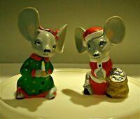 "Vtg Christmas Pair Mice Hand Painted Ceramic 5 1/2"" tall"