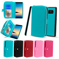For Samsung Galaxy Note 8 S9 Plus PU Leather Wallet Zipper Stand Flip Cover Case
