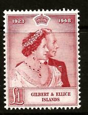 1949 (254)  GILBERT & ELLICE £1.00 SILVER WEDDING  MOUNTED MINT + LV USED