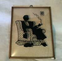 *Vintage Dome Glass Silhouette Picture in Metal Frame SMOKING MAN