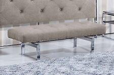 Banco tapizado elegance para dormitorio estructura metálica cromada, Moka