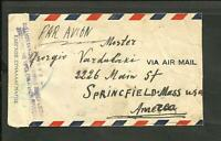 GREECE TO USA AIR MAIL CENSORED COVER, VF