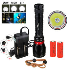 Tactical 10000LM XM-L2 LED Diving Flashlight Scuba Torch Lamp Light+2x 18650 Hot