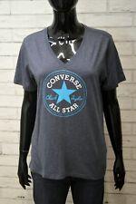 Maglia Blu Donna CONVERSE Taglia XL Slim Fit Manica Corta Shirt Women's Jersey