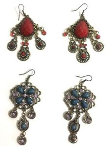 Vintage Retro style Exotic Drop and Chandelier earrings x 2 Set