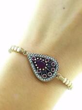 Turkish El Sultan Handmade Jewelry 925 Sterling Silver Ruby Tennis Bracelet 3221