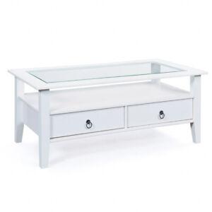 Couchtisch Stubentisch Tisch Provence 7 Massivholz Weiß Glas